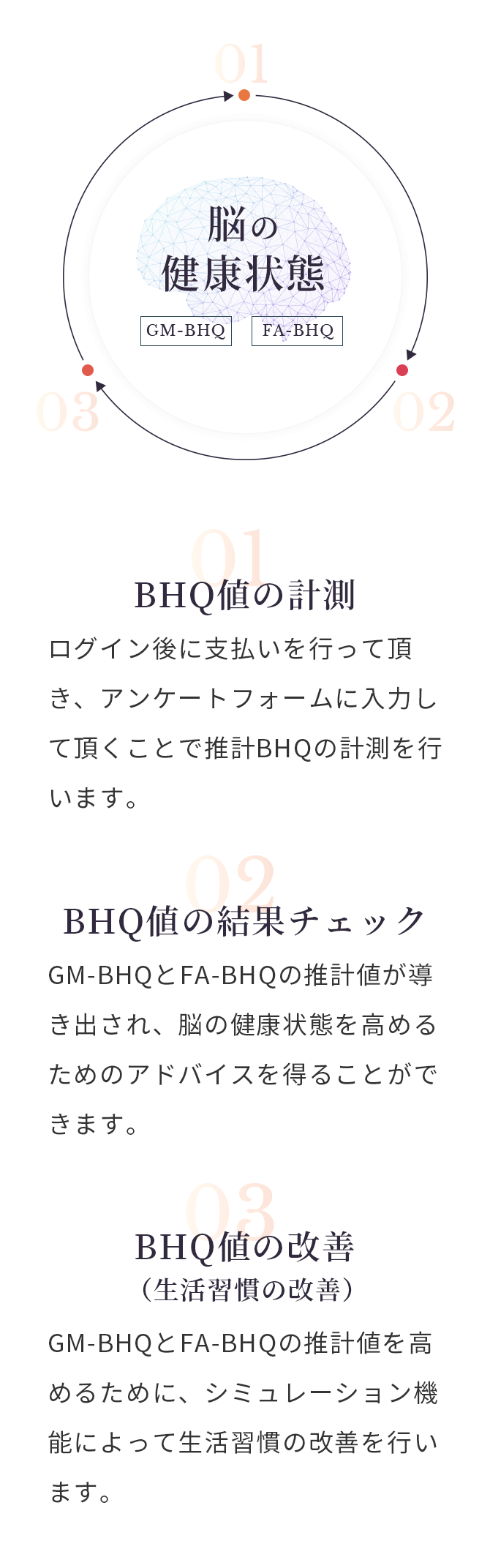 計測の流れの図 01:BHQ値の計測、02:BHQ値の結果チェック、03:BHQ値の改善(生活習慣の改善)